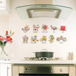 New Creative 3D Cartoon Wall Sticker Kitchen Tools Corridor Kindergarten Background Decoration