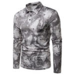 New Men Paper Print Long Sleeve Turn-down Collar T-Shirts