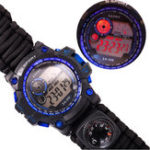 New 7 In 1 Survival Watch Camping Multifunctional Compass Date Alarm Paracord Bracelet LED Backlight Gadget EDC Tool