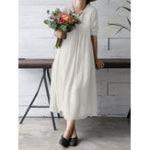 New S-5XL Vintage Women Solid Color V-Neck Long Sleeve Dress