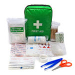 New Green First Aid Kit With Bag SOS for Outdoor Camping Travelling Scissors Bandage Disposable Gloves
