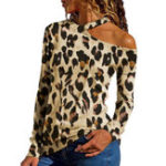 New Women Halter Leopard Print T-shirts