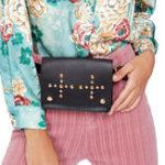 New Women Faux Leather Plain Rivet Belt Waist Bag