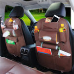 New Leather Car Seat Back Storage Bag Waterproof Seat Cover Multi-functional Cup Holder Organizer