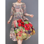 New Elegant Floral Print Half Sleeve Dress