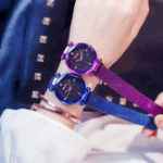 New Luxury Clock Magnet Buckle Starry Sky Diamond Quartz Watch Geometric Surface Fashion Casual Dress Wristwatch