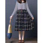 New Plaid Patchwork Cotton Dress