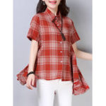New Women Casual Plaid Button Short Sleeve High Low Hem Blouse