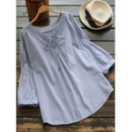 New S-5XL Women Casual  Loose Striped V-Neck 3/4 Sleeve T-Shirts
