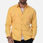 New Casual Solid Color Chest Pockets Spring Shirts for Men