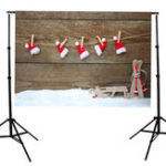 New 5x7FT Vinyl Christmas Wood Wall Santa Hat Photography Backdrop Background Studio Prop