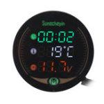 New 9V 12V-19V 3 IN 1 LED Time Temperature Voltage Motorcycle Car Meter Display Table Night Vision