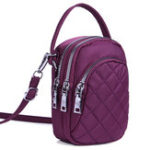 New Women Nylon Multi-pocket Phone Purse Lingge Crossbody Bag