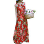 New Ethnic Style Sleeveless Floral Print Loose Maxi Dress