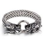 New Silver Dragon Head Cuff Bangle Bracelet