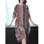 New 3/4 Sleeve Floral Silk Vintage Dress