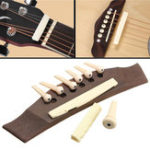 New 1 Set Professional Guitar Kit Acoustic Guitar Bridge with Bone Pins Saddle Nut
