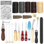 New 18Pcs Vintage Leather Craft Carving Tool Kit Stitching Sewing Beveler Punch Working Hand Tools