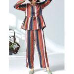 New Women Casual Cotton Linen Striped Tops+Pants Set