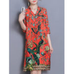 New Elegant Women Print V-Neck Half Sleeve Dress