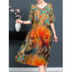New Plus Size Floral Print V-neck Half Sleeve Elegant Dress