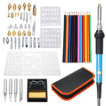 New 60Pcs 110V 60W Wood Burning Pen Set Stencil Soldering Tips Tools Pyrography Solder Iron Kit