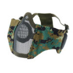 New Tactical CS Military Riot Adjustable Half Face Steel Wire Mesh Mask With Ear Protection