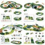 New Dinosaur Dino World Childrens Flexible Race Car Track Toys Construction Play-Set Toy