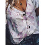 New Women Casual V-Neck 3/4 Sleeve Button T-Shirts