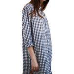 New Women Button Down Plaid Shirt Mini Dress