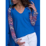 New Women Casual Patchwork Crew Neck Long Sleeve Blouse