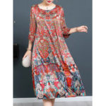 New Plus Size Vintage Art Print Half Sleeve Women Dress