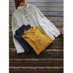New Women Stripe Lapel Long Sleeve Button Loose Blouse