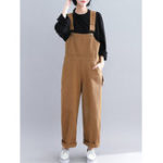 New Casual Loose Straps Button Wide Legged Women Jumpsuit