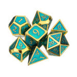 New 7pcs Embossed Heavy Metal Polyhedral Dices DnD RPG SET w/ Bag