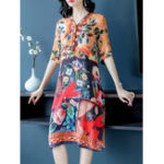 New Women V-neck Floral Silk Vintage Dress