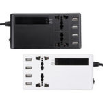 New 12V To 220V Power Inverter LCD Display W/ 2 Universal Sockets & 4 USB Charging Ports