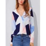 New Women V-neck Geometric Print Long Sleeved Button Blouse