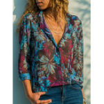 New Women Casual Floral Print V-Neck Button Long Sleeve Blouse