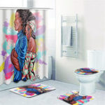 New Waterproof Batroom Shower Curtain Lovers Hug Printing Bathroom Shower Curtain Toilet Cover Mat Non-Slip Rug Set