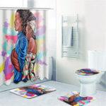 New Waterproof Batroom Shower Curtain Lovers Hug Printing Bathroom Shower Curtain Toilet Cover Mat Non-Slip Rug Set