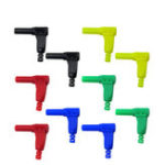 New 10pcs P3014  4mm Safety Shrouded Banana Plug 90 Degree Right Angle Plug
