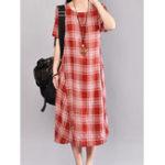 New Women Casual Cotton Short Sleeve Plaid Dress