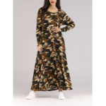 New Women Long Sleeve Camouflage Maxi Dress with Belt
