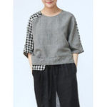 New Women Crew Neck 3/4 Sleeve Plaid Blouse