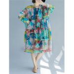 New Women Patchwork Art Printed Loose Chiffon Dress