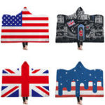 New Flag of the United States UK Hooded Blankets Sherpa Fleece Ocean Blue Wearable Plush Throw Blankets