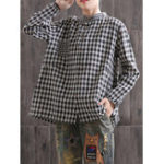 New Plus Size Plaid Crew Neck Long Sleeve Vintage Blouse