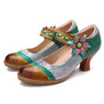 New SOCOFY Handmade Flowers Hook Loop Genuine Leather Pumps