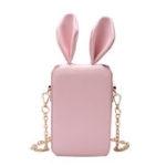 New Women Cute Cartoon Rabbit Ear Chain Phone Bag Square Bag